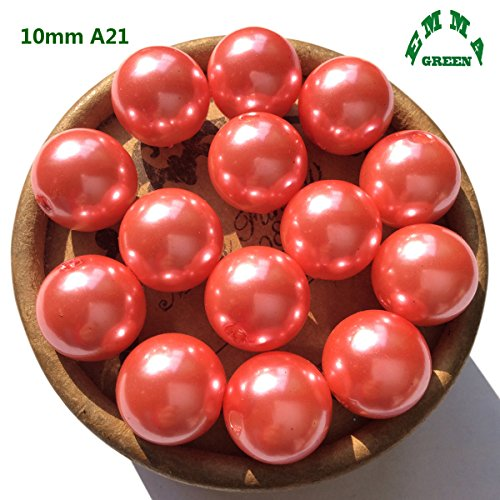(EmmaGreen Coral Pink 10mm 100pcs Faux Pearl Loose Chunky Bubblegum Beads for Jewelry Making Vase Filler)