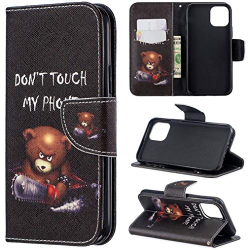 iPhone 11 Pro Max Case, iYCK Premium PU Leather Flip Folio Magnetic Closure Protective Shell Wallet Case Cover for Apple iPhone 11 Pro Max 6.5 inch 2019 with Kickstand Stand - Electric Saw Bear