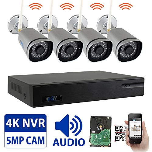 GW 8 Channel 5MP H.265 Network Wireless WiFi Security Camera System (NVR Kit) - 4 x HD 1920P Video & Audio Surveillance Outdoor/Indoor Wireless IP Cameras Built-in Microphone, 100FT IR Night Vision