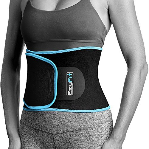 EzyFit Waist Trimmer Premium Weight Loss Ab Belt for Women & Men Exercise Workout Sweat Enhancer Adjustable Fat Burner Stomach Wrap Sweet Abdominal Muscle & Back Support, Black Blue Trim Fits 24