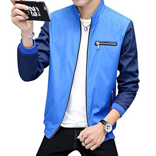 Blue Slim Zip Jacket Bomber Lightweight Full Vintage Pilot Sapphire Coat Fit Men's EXqPB