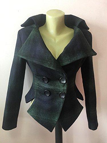 Wool Tartan checked Navy Green tailored jacket, vintage style plaid coat, Check steampunk lady blazer