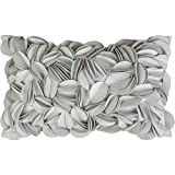 KingRose 3D Flower Home Decorative Accent Throw Pillow Case Rectangular Cushion Cover for Sofa Couch Living Room 12 x 20 Inches Silver Grey