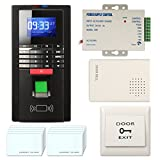 Access Control System, ZOTER Fingerprint Entry RFID ID Card Password Reader Smart Time Attendance Recorder Security Kit Black