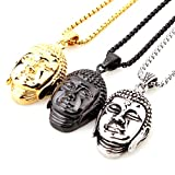 Cool Mens Womens Stainless Steel Silver/Gold/Black Buddha Head Pendant Necklace