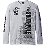 Southpole Men's Big and Tall Long Sleeve Flock and Screen Graphic Tee with Logo, Heather Grey, 3XB