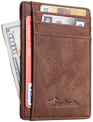 (Travelambo Front Pocket Minimalist Leather Slim Wallet RFID Blocking Medium Size(Oldo Coffee))