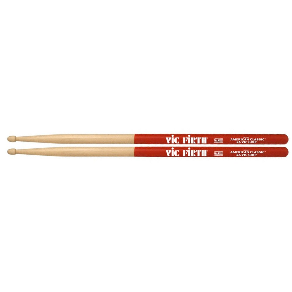 Vic Firth 5AVG American Classic Drumsticks with Vic Grip, 5A Wood Vic Firth Drumsticks