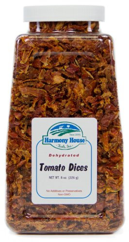 Harmony House Foods, Dried Tomatoes, Diced, 8 Ounce Quart Size Jar (Diced Tomatoes Jar compare prices)