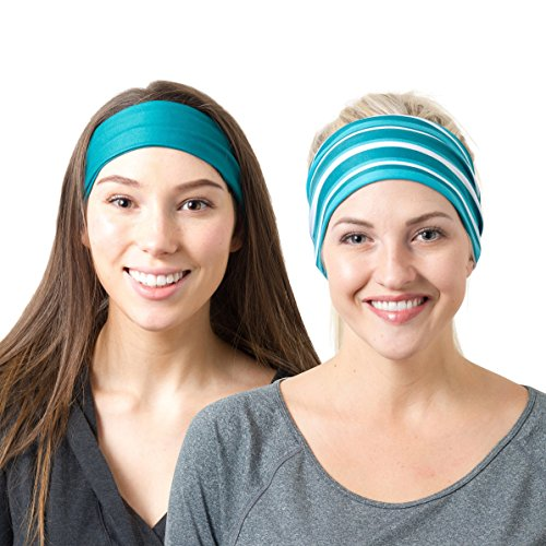 RiptGear Headband 2Pack - Teal Solid and Teal Striped