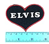Elvis Presley Heart Black King of Rock and Roll pop rockabilly country blues music patch logo Jacket T Shirt Patch Sew Iron on Embroidered Symbol Badge Cloth Sign Costume