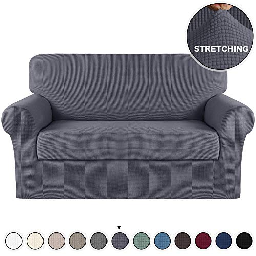 Turquoize Stretch Couch Slipcover with Separate Cushion Cover Loveseat Slipcover 2 Piece Couch Covers/Furniture Protector Sofa Cover for Loveseat Furniture Cover Knitted Jacquard (Loveseat, Gray)