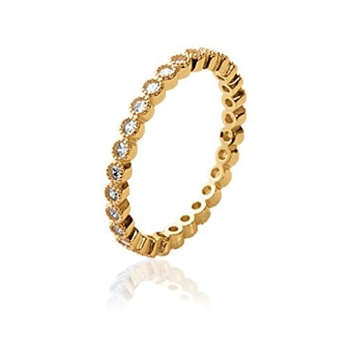ISADY – Ottilie Gold – Damen Ring – 18 Karat (750) Gelbgold platiert – Zirkonia
