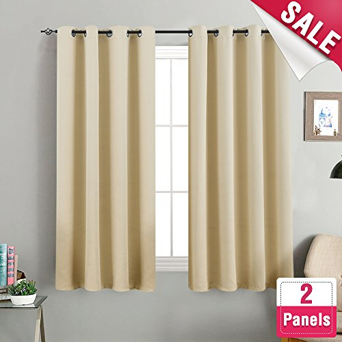 Room Darkening Window Curtains for Bedroom Triple Weave Moderate Blackout Curtains for Living Room 63 inches Long Light Reducing Window Treatment Set, Beige, 2 ()