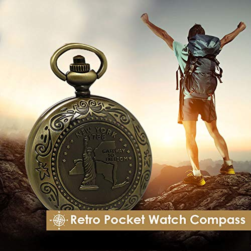 Kakuru Vintage Pocket Compass for Kids Classic Portable Compass Accurate Waterproof for Hiking Outdoor Camping Motoring Boating Backpacking Survival Emergency ()