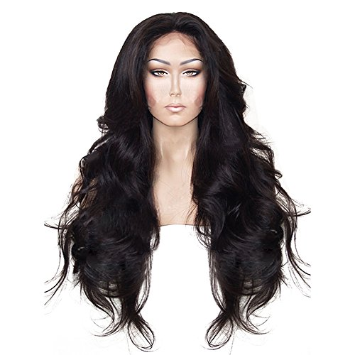 Anogol Hair Cap+24'' Long Natural Wavy Black Synthetic Lace Front Wig Hair Wigs (Lace Front Wigs Black)