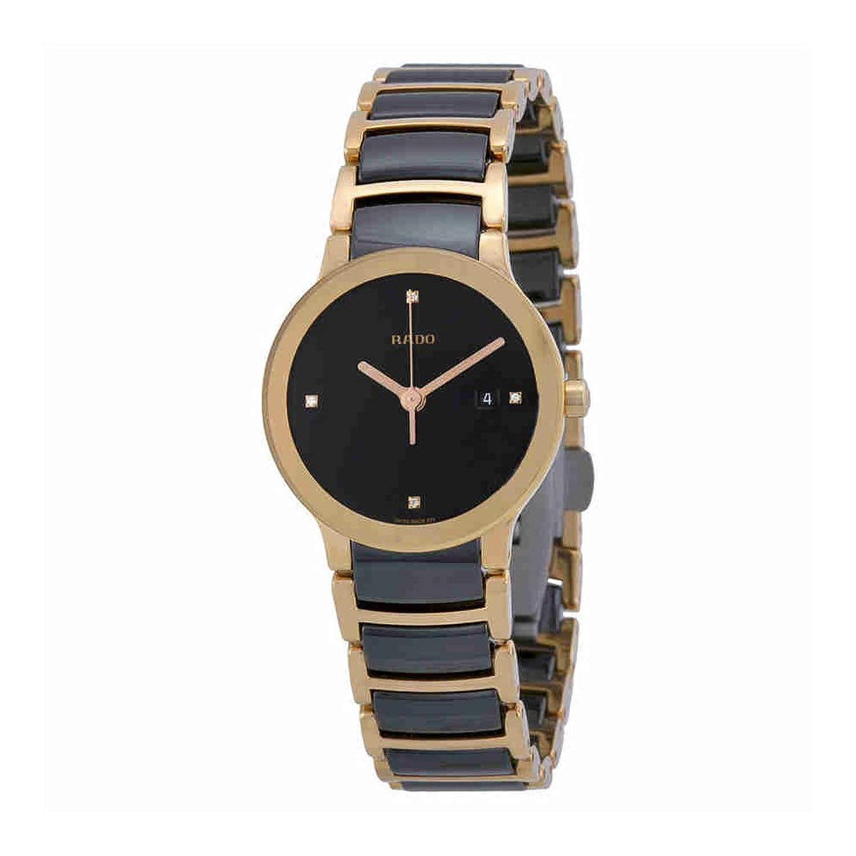 Rado CentrixブラックダイヤルSSツートンカラーセラミッククォーツレディース腕時計r30555712 B00EO8NKME