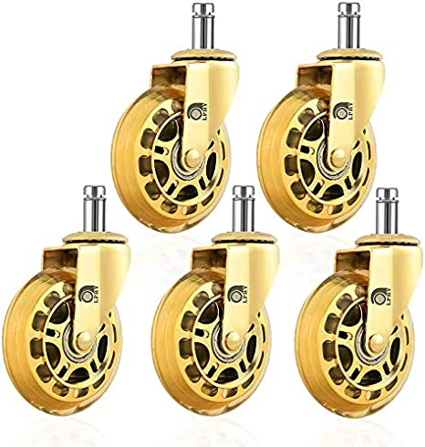 Lphy Office Chair Wheels Set Of 5 3 Smooth Rolling Heavy Duty Casters Safe For All Floors Including Hardwood Universal Stem 7 16 Inch Gold Furniture Decor Amazon Com