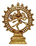 Nexplora Industries Natraj Brass Statue,Nataraja - King of Dancers Hindu God Shiva Dancing for Home Temple Mandir,Dancing God Shiva Natraj Ethnic Brass Statue Sculpture Ultimate gift Figurine Of Lord Natraj,Religious Idol Brass Statue,Valuable collectible, Handcrafted Home Decorative Great Gifts for Christmas feng shui gifts (8.7 Inch Gold Elegant),1.5 KG