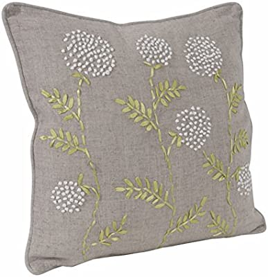 Amazon Com Fennco Styles Jardin Botanique Embroidered French Knots And Ribbon 18 X 18 Throw Pillow With Case Insert Natural Decorative Pillow For Couch Bedroom And Living Room Décor Home Kitchen