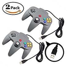 Mario Retro Nintendo 64 Classic USB Game Wired Controller Joypad Gaming- Compatible with PC and MAC Dual Pack Grey
