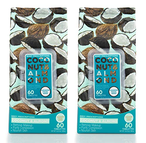 Body Prescriptions 2 Pack (60 Count Each) Coconut and Almond Facial Cleansing Wipes - Detoxifies Skin and Removes Makeup - Flip Top Pack