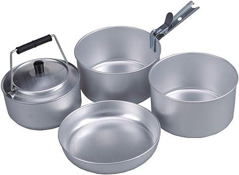 AceCamp Camping Juego de ollas para 4 Personas, apilable, Set de Cocina, Cocina, Compacto, Aluminio, 1652
