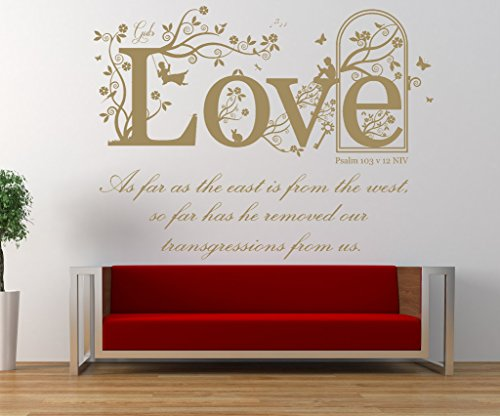 Psalm 103 v 12 NIV Bible Verse Quote, Vinyl Wall Art Sticker, Mural, Decal. Home, Church, School Wall Decor. Dimensions of Sticker: 47 1/2