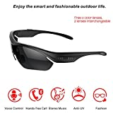 Seleven® Smart Touch Bluetooth 4.0 Sunglasses Stereo Music Headphone, Polarized Glasses for Travel, Cycling, Driver with Handsfree for iPhone Samsung LG Cell Phones (Black)