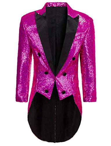 Mens Tailcoat Jacket Costume Halloween Fuchsia Glitter Sequins Blazer Jacket for Circus -