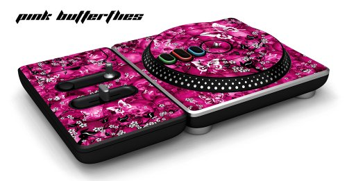 New DJ Hero Turntable Controller Designer Skin, Fits Xbox 360, Playstation 2 & 3 - Pink Butterfly