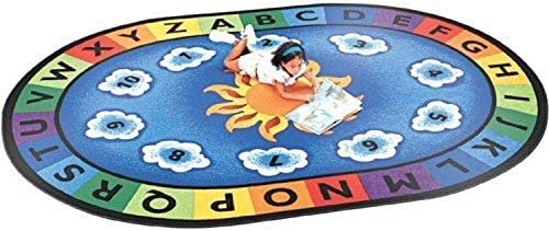 Constructive Playthings Sunny Day Oval Learning Rug, Alphabet and Number Area Carpet for Classroom, 11 8 x 8 3