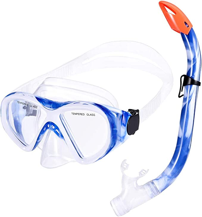 Snorkelling STARSEA Snorkel Set with Snorkel and Diving Goggles Swimming and Diving Suitable for Adults and Kids Premium Anti-Fog Antileak Tempered Glass