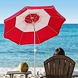 AMMSUN 2018 7ft Beach Patio Umbrella 8 panels Adjustable Height, Fantastic design with Tilt Air Vent UPF 50+ Red/white