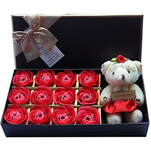 rosesoap 2015 hot sales12pcsbox romantic rose soap flower with little bear great for valentines day gifts wedding giftbirthday gifts red