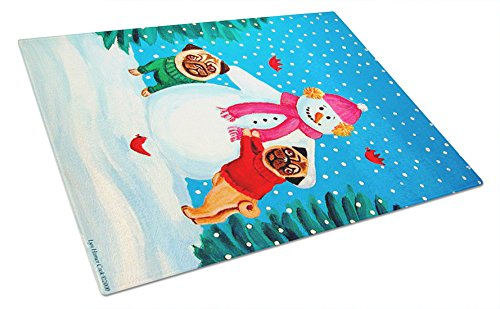 Caroline's Treasures Snowman with Pug Glass Cutting Board, Large, Multicolor