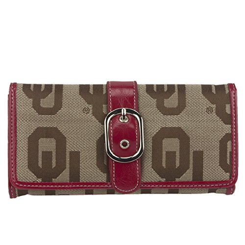 Oklahoma Sooners Purse - SANDOL Oklahoma Sooners Jacquard Fabric Leather Ladies Wallet