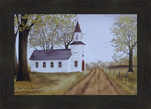 Primitive Country Framed Picture (Little Country Church House by Billy Jacobs 16x20 Country Primitive Folk Art Framed Picture (2
