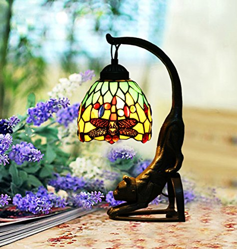 Makenier Vintage Tiffany Style Stained Glass Green Dragonfly Table Lamp with Cat Base, 6 Inches - The Cat Tiffany