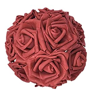 Celine lin Artificial Flowers 10Pcs Real Touch Artificial Roses for Bouquets Centerpieces Wedding Party Baby Shower Decorations DIY,Wine red 3