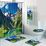 Philip-home 5 Piece Banded Shower Curtain Set Beautiful Scene of Mt Cook and Environment While Trek on Hook Valley Track Decorate The Bath
