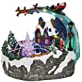 Top Treasures Fountain Snow Village   Flying Santa with Reindeers   Lighted Christmas Village is a Great Perfect Addition to Your Christmas Decorations & Holiday Displays