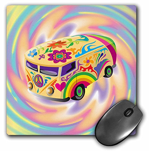3dRose LLC 8 x 8 x 0.25 Inches Mouse Pad, Funky Retro Hippie Sixties Seventies Bus with Swirly Psychedlic Background (mp_119158_1)