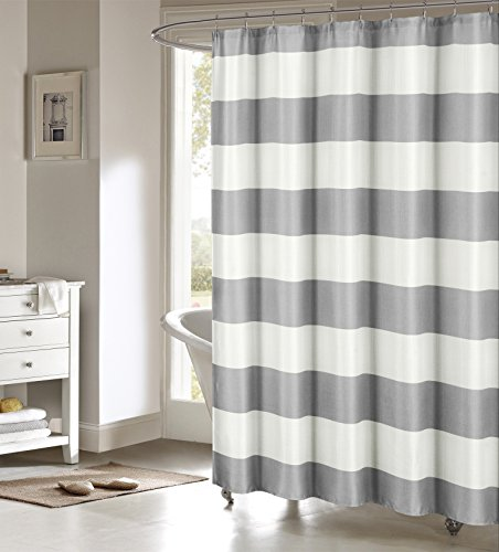 Serafina Toto Nautical Striped Cotton Blend Mildew Resistant Fabric Shower Curtain Liner For Bathroom Waterproof | Water Repellent & Antibacterial - Assorted Colors, 70