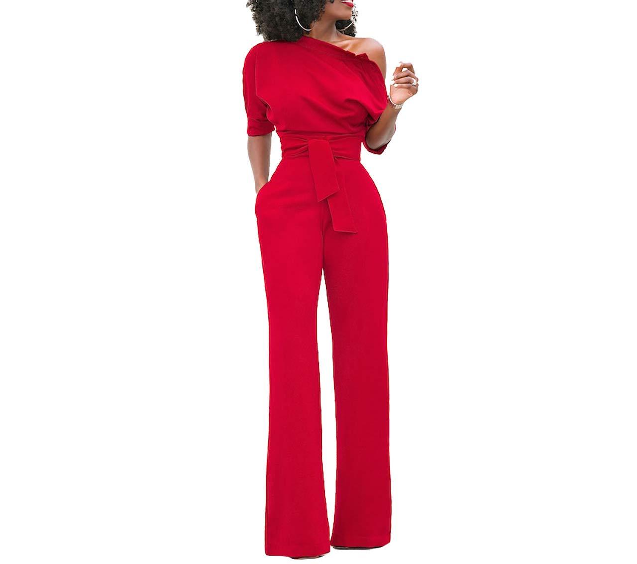 Damen Elegante Jumpsuit Lang Weites Bein Overalls Hoher Taille Spielanzug mit Gurt Halbe HÜlse Weg von Den Schulter, Rot