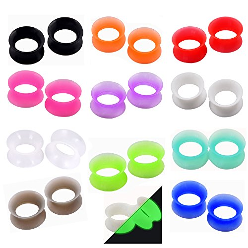 Lianrun 24pcs Thin Silicone Ear Tunnels Soft Plugs Double Flared Expander Gauge 00g