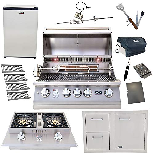 Lion 32-Inch Natural Gas Grill L75000 with 4 Ceramic Tubes w/Flame Tray and Door and Drawer Combo and Double Side Burner and Refrigerator and 5 in 1 BBQ Tool Set Best of Backyard Gourmet Package Deal