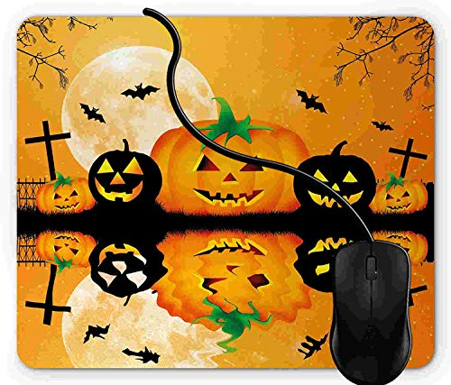 Mouse Pad Gaming Halloween, Spooky Carved Halloween Jack o Lantern and Full Moon with Bats and Grave Lake, 9.25 x 7.75 inch Non-Slip Rubber -