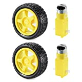 XCSOURCE 2 sets DC Gear Motor and Tire Wheel for DC 3V-6V Arduino Smart Car Robot Projects (Yellow) TE696