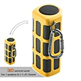 Hapyia Outdoor Wireless Portable Bluetooth Speaker Waterproof, Pair 2 speakers for 3D Stereo Surround Sound [New Release] - One Speaker (Yellow)
